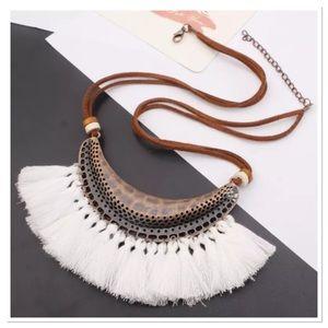 Jewelry - White Tassel Boho Necklace